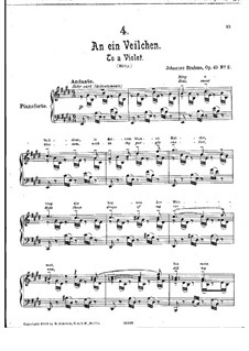 No.2 To a Violet: Para Piano by Johannes Brahms