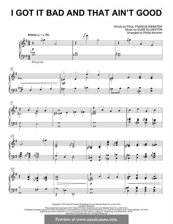 I Got It Bad and That Ain't Good: Para Piano by Duke Ellington