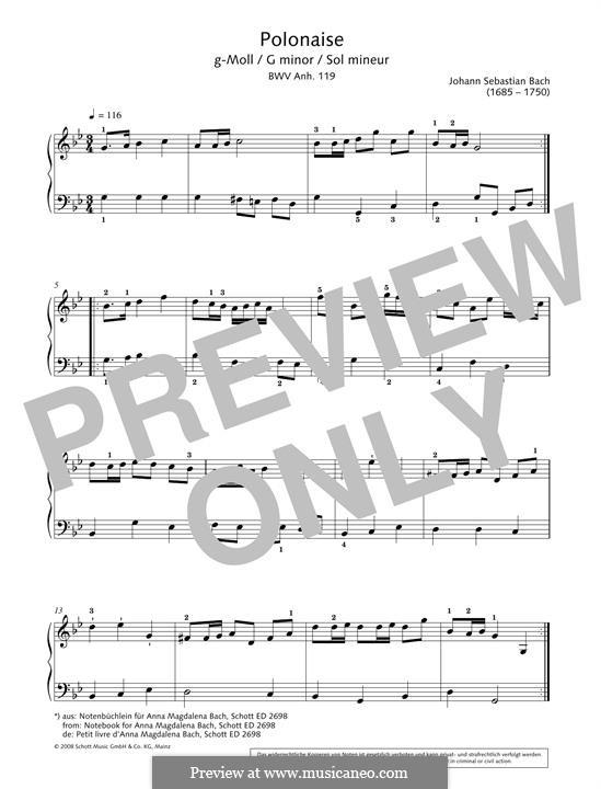 No.19 Polonaise in G Minor, BWV Anh.125: Para Piano by Johann Sebastian Bach