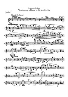 Variations on a Theme by Haydn, Op.56a: parte violinos by Johannes Brahms