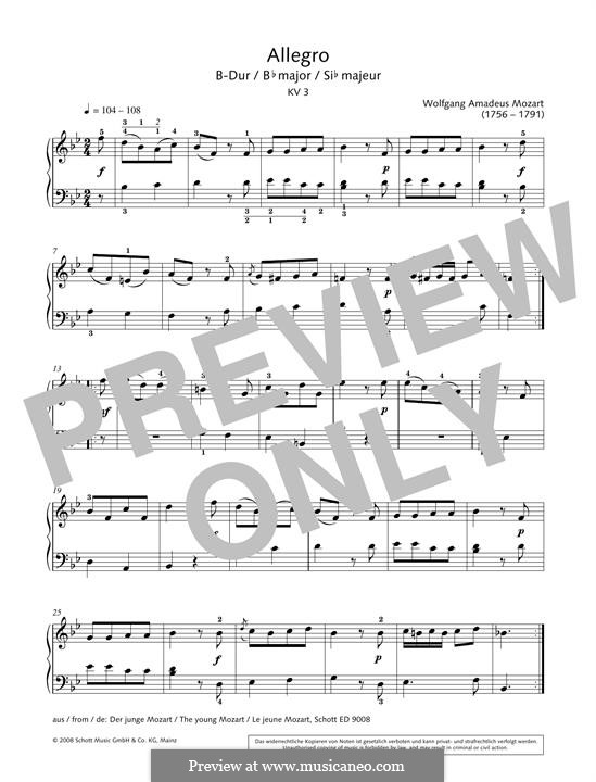 Allegro in B Flat Major, K.3: Para Piano by Wolfgang Amadeus Mozart