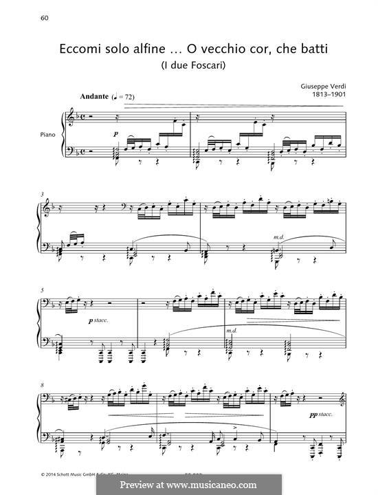 Otello: Eccomi solo alfine ... O vecchio cor, che batti by Giuseppe Verdi