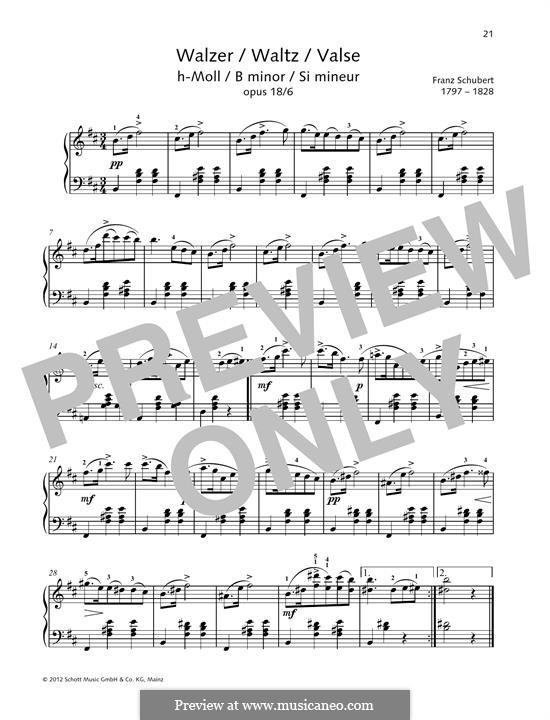 Twelve Walzer, Seventeen Ländler and Nine Ecossaises, D.145 Op.18: Waltz No.6 by Franz Schubert