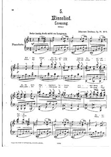 Five Songs, Op.71: No.5 Minnesong by Johannes Brahms