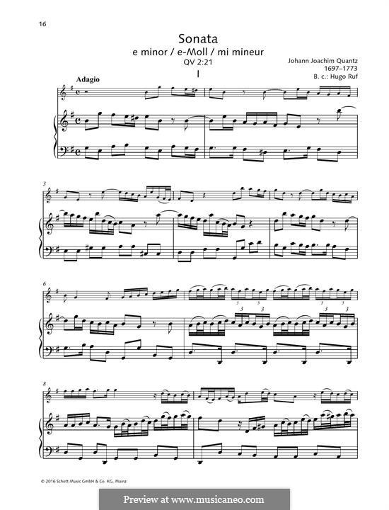 Sonata for Flute and Basso Continuo No.5, QV 1:77 Op.1: partitura by Johann Joachim Quantz