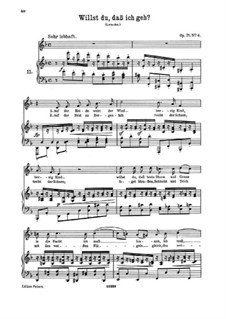 Five Songs, Op.71: No.4 Do You Want Me to Go by Johannes Brahms