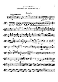 Concerto for Violin and Orchestra in D Major, Op.77: parte viola by Johannes Brahms