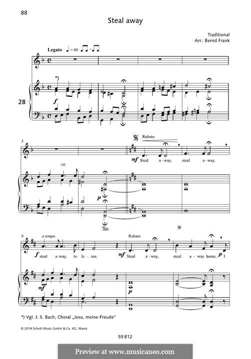 Steal Away (Steal Away To Jesus): Para vocais e piano by folklore