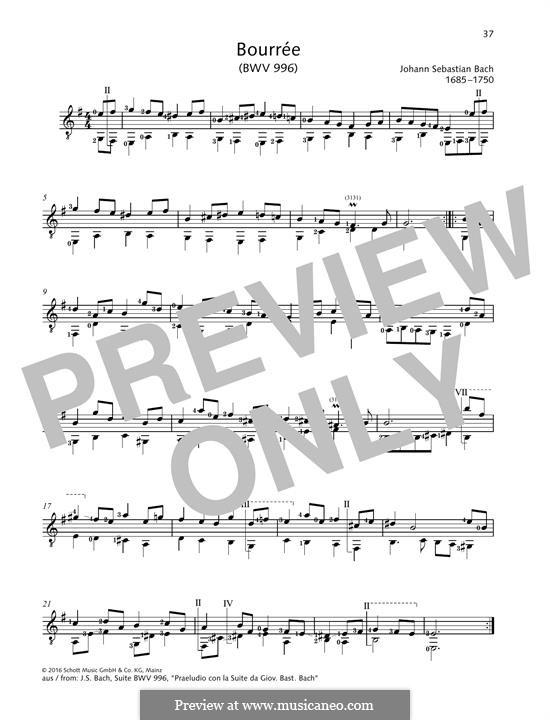 Suite for Lute (or Harpsichord) in E Minor, BWV 996: Bourree, for guitar by Johann Sebastian Bach