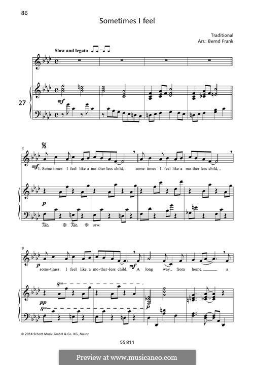 Sometimes I Feel Like a Motherless Child: Para vocais e piano by folklore