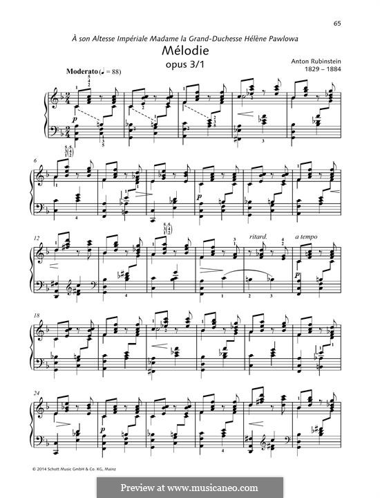 Two Melodies, Op.3: Melody No.1 by Anton Rubinstein