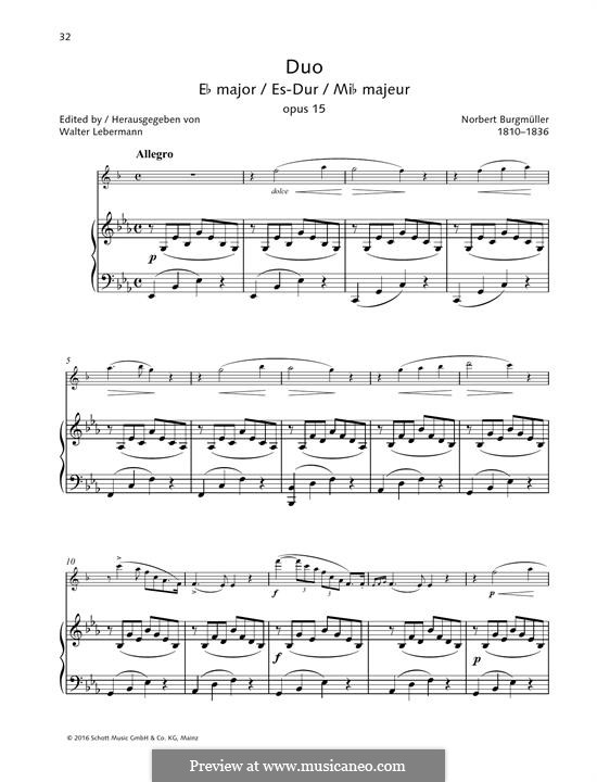 Duo for Clarinet and Piano, Op.15: partitura by Norbert Burgmüller