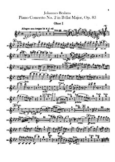 Concerto for Piano and Orchestra No.2 in B Flat Major, Op.83: parte de oboes by Johannes Brahms