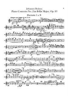 Concerto for Piano and Orchestra No.2 in B Flat Major, Op.83: parte clarinetas by Johannes Brahms