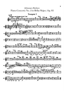 Concerto for Piano and Orchestra No.2 in B Flat Major, Op.83: parte trompetas by Johannes Brahms