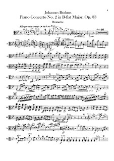 Concerto for Piano and Orchestra No.2 in B Flat Major, Op.83: parte viola by Johannes Brahms