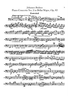 Concerto for Piano and Orchestra No.2 in B Flat Major, Op.83: Parte contrabaixo by Johannes Brahms