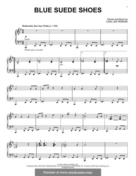 Blue Suede Shoes (Elvis Presley): For piano (jazz version) by Carl Lee Perkins