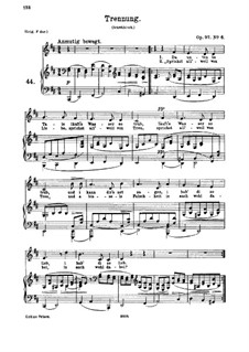 Six Songs, Op.97: No.6 Trennung (Separation) by Johannes Brahms
