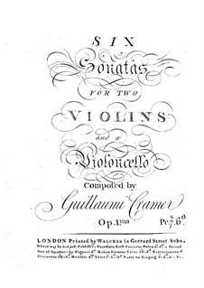Six Trio Sonatas, Op.1: parte violoncelo by Wilhelm Cramer