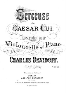 Twelve Miniatures, Op.20: No.8 Berceuse, for cello and piano by César Cui