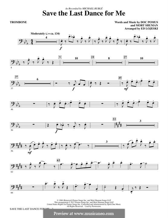 Save the Last Dance for Me (The Drifters): parte trombone by Doc Pomus, Mort Shuman