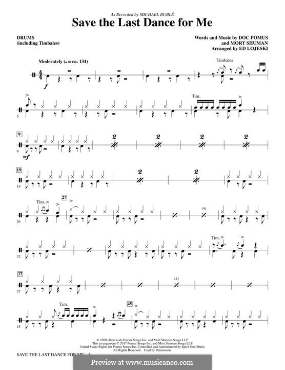 Save the Last Dance for Me (The Drifters): Drums/Timbales part by Doc Pomus, Mort Shuman