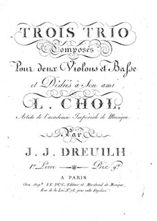 Three Trios for Two Violins and Cello: violino parte II by Jean Jacques Dreuilh