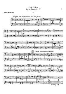 Symphony in C Major: parte de trombones e tubas by Paul Dukas