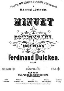 String Quintet No.5 in E Major, G.275 Op.107: Minuet, for piano four hands by Luigi Boccherini