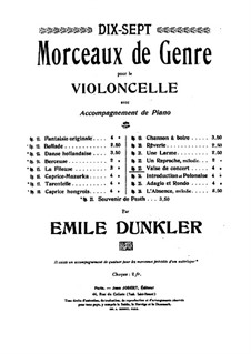 Concert Waltz for Cello and Piano, Op.23: Score by Emile Dunkler
