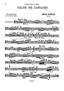 Concert Waltz for Cello and Piano, Op.23: Parte de solo by Emile Dunkler