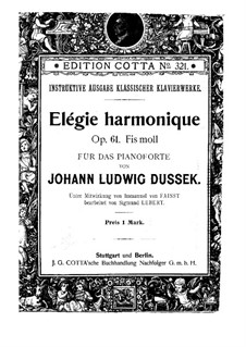 Sonata for Piano in F Sharp Minor, Op.61 Craw 211 : For a single performer by Jan Ladislav Dussek