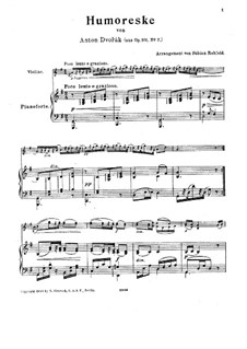 Humoresques, B.187 Op.101: No.7, for violin and piano by Antonín Dvořák