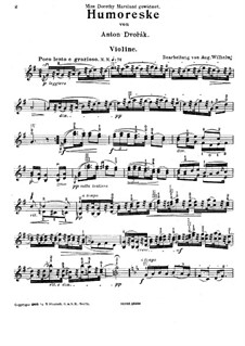 Humoresques, B.187 Op.101: No.7, for violin and piano – violin part by Antonín Dvořák