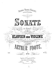 Sonata for Violin and Piano, Op.20: Score by Arthur Foote