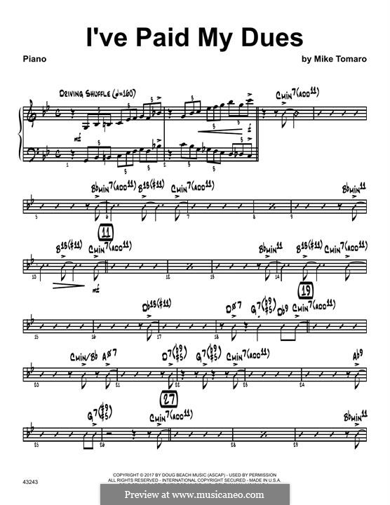 I've Paid My Dues: parte piano by Mike Tomaro