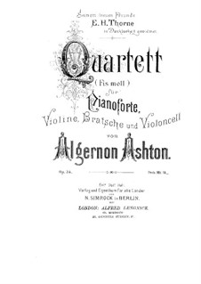 Piano Quartet in F Sharp Minor, Op.34: Piano Quartet in F Sharp Minor by Algernon Ashton