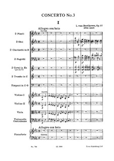 Concerto for Piano and Orchestra No.3, Op.37: Partitura completa by Ludwig van Beethoven