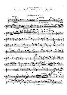 Concerto for Violin, Cello and Orchestra in A Minor, Op.102: Clarinets in A parts by Johannes Brahms