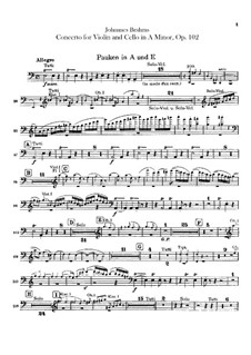 Concerto for Violin, Cello and Orchestra in A Minor, Op.102: Peça para Timpano by Johannes Brahms