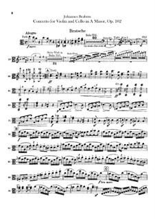 Concerto for Violin, Cello and Orchestra in A Minor, Op.102: parte viola by Johannes Brahms