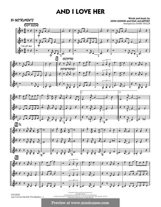 Jazz Combo Pak No.45 (The Beatles): Bb Instruments part by John Lennon, Paul McCartney