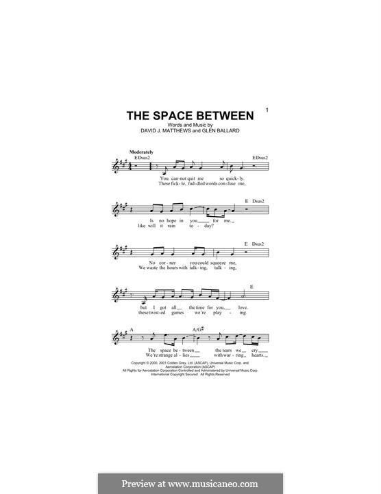 The Space Between (Dave Matthews Band): para teclado by David J. Matthews, Glen Ballard