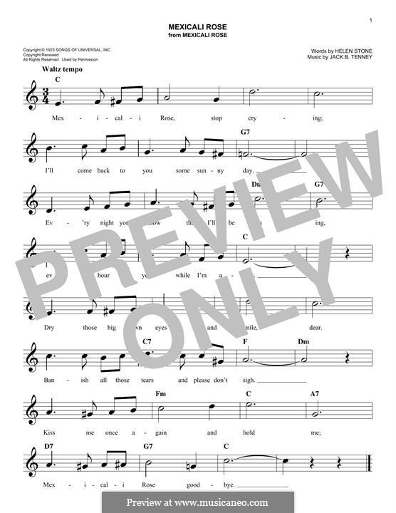 Mexicali Rose (Bing Crosby): para teclado by Helen Stone, Jack B. Tenney