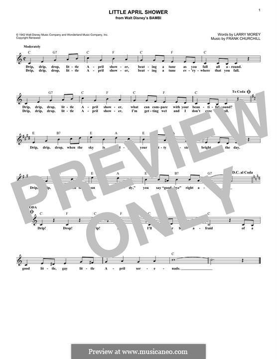 Little April Shower (from Bambi): para teclado by Frank Churchill