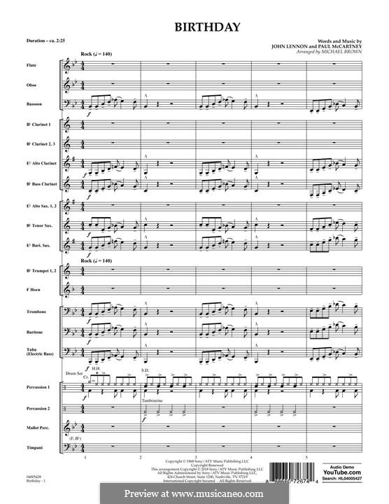 Birthday (Concert Band version): partitura completa by John Lennon, Paul McCartney