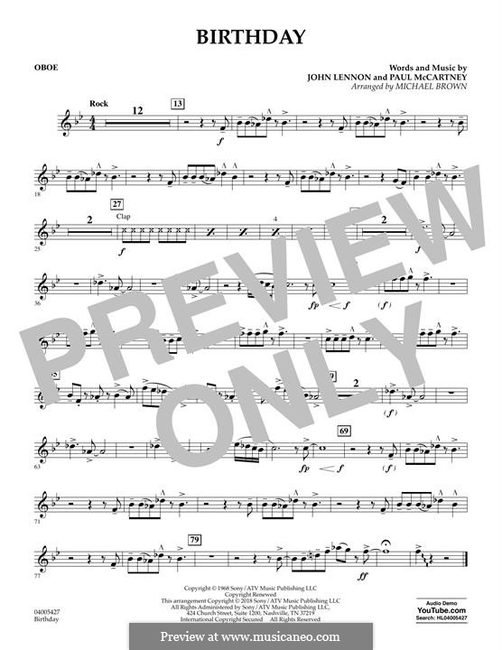 Birthday (Concert Band version): parte Oboe by John Lennon, Paul McCartney