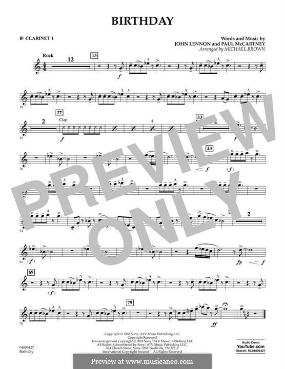 Birthday (Concert Band version): Bb Clarinet 1 part by John Lennon, Paul McCartney