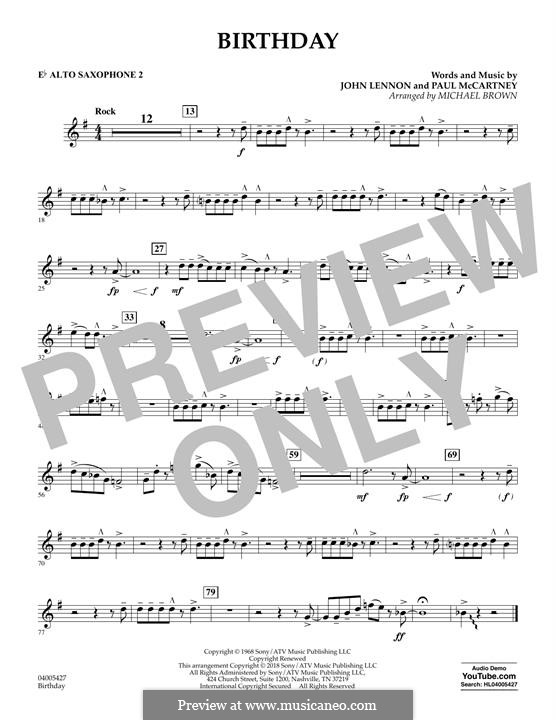 Birthday (Concert Band version): Eb Alto Saxophone 2 part by John Lennon, Paul McCartney